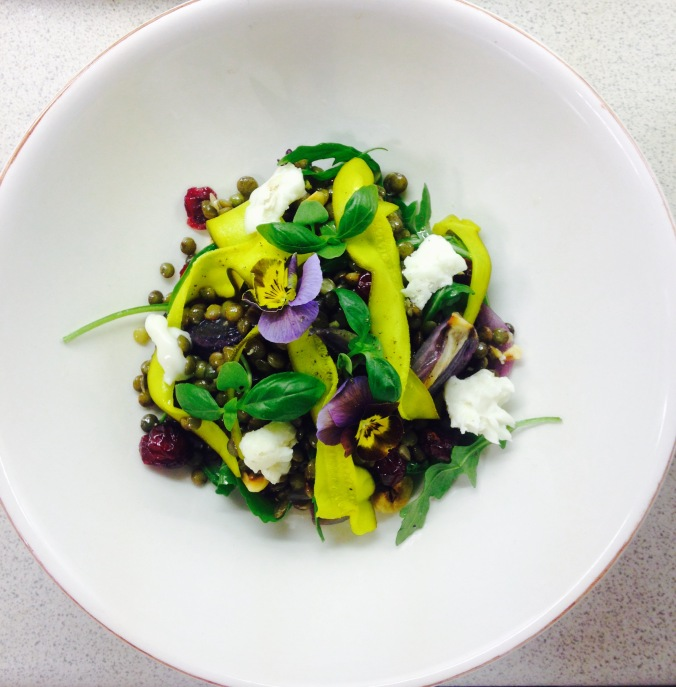 Lentil and Stained Courgette Salad Created @ Peardrop London